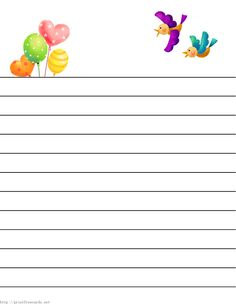 Free printable kids stationery and regular lined writing paper