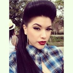 Chola! Make up, hoop earrings, red lips, winged liner, quiff? Button up shirt, plaid Latina, chicana, hermosa
