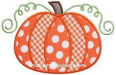 """Pumpkin Applique Design   Sizes include: 4x4 hoop (3.89"""" x 2.54"""") 5x7 hoop (4.44"""" x 6.88"""") 6x10 hoop (5.88"""" x 9.15"""") Price:Was $4.00 Sale! $2.00"""
