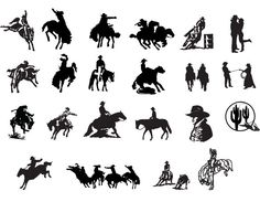 XOO Plate :: 18 Western Country Cowboy Vector Silhouettes - American country and western style vector silhouettes including: cowboys, mustangs, jumping horses, rodeo, and more.