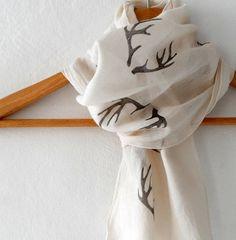 Antler Scarf woodland cotton yemeni scarf hand by ShebboDesign, $19.00