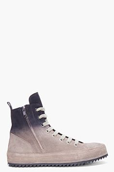 ANN DEMEULEMEESTER Taupe Ombre Suede Sneakers