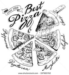 Pizza and sushi vintage illustrations vector 2 sets with