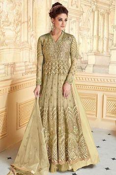 c1e2936f023 Orinoco Color Net Anarkali Gown With Resham Work