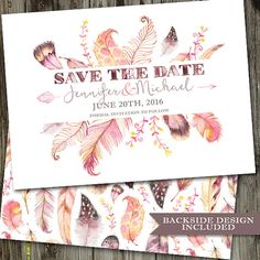Watercolor Feathers Save The Date PRINTABLE Wedding by partymonkey
