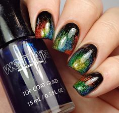 Black base ; Wet Paint Crystal (holo glitter), Caliente Cutie(orange), Raincoat Slicker(yellow), Go Fly A Malachite(green), and Waterfalling For You(blue) ; 11/4/15 ; breezythenailpolishlover