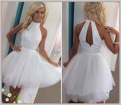 Sexy Two Piece Sweetheart Mini Dress Short White Beading Prom Homecoming Dresses