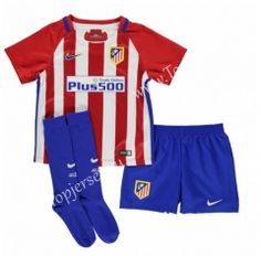 2016-17 Atletico Madrid Home Red and White Kids Youth Soccer Uniform With  Socks 5dcb1eafe853c