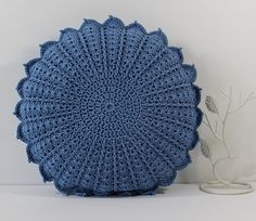 Round Crochet Cushion Pillow - Light Denim/China Blue Circular Flower Petal design - Handmade, includes Pad, 14 inches diameter