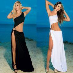 New 2015 Women White 2 Piece Bandage Bodycon Dress Celebrity Sexy Clubwear Split Cutout Long Dresses Sexy Club dresses vestidos = 1958381252 Club Dresses, Sexy Dresses, Summer Dresses, Long Dresses, Cute Beach Outfits, Cool Outfits, Beach Skirt, Dress Beach, Beach Dresses