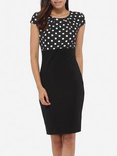 #AdoreWe #Fashionmia Fashionmia❤️Designer Womens Round Neck Dacron Patchwork Polka Dot Printed Bodycon Dress - AdoreWe.com
