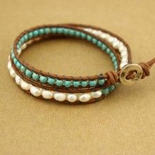 Women's Pearls Bracelet 5-6mm Potato  Pearls,Leather Bracelet  Women Turquoise  Bracelet Freshwater cultured handmade  pearl jewelry,ETS-B168