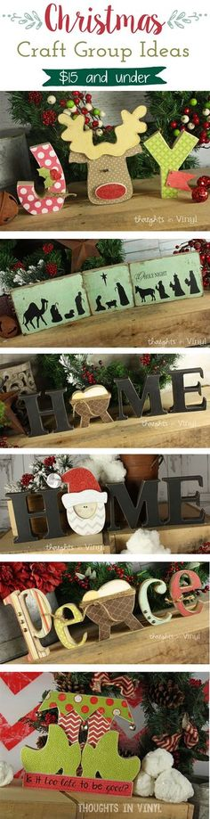 Wooden Letters, you finish how you want with paint, scrapbook paper etc. Great craft group ideas or gifts. Perfect for girls night out! Wooden Christmas Crafts, Noel Christmas, Christmas Projects, All Things Christmas, Winter Christmas, Holiday Crafts, Holiday Fun, Christmas Gifts, Christmas Decorations