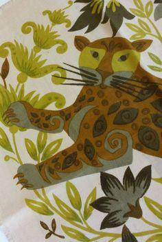 VTG MCM Jim Thompson vintage square Thai Silk Co Cheetah Leopard Jaguar Green  #JimThompson