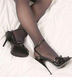 black high heels for sale Sexy Legs And Heels, Lace Up Heels, Black High Heels, High Heels Stilettos, High Heel Boots, Stiletto Heels, Ankle Boots, Pantyhose Heels, Stockings Heels