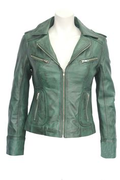 RIDER Ladies Green WASHED Biker Motorcycle Style Soft Real Nappa Leather Jacket #RealLeather #Casual