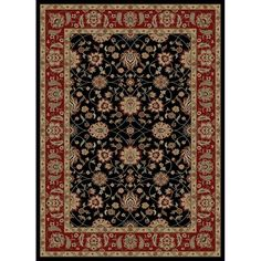 Shop Style Selections Natcher Rectangular Black Floral Woven Area Rug (Common: 5-ft x 8-ft; Actual: 5.25-ft x 7.5-ft) at Lowes.com