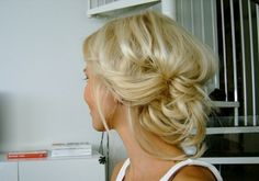 simple, messy, pinned updo.