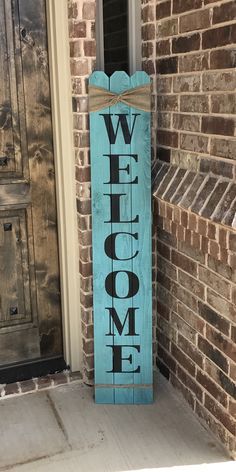 Welcome fence sign with burlap trim