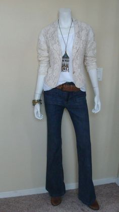 Daily Look:@CAbiClothing #Fashion #Spring13 Farrah Jean, Weave It To Me Belt, Eliza Blouse & Lacy Jacket w booties