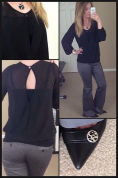 Cute winter work outfit. Black Long sleeve blouse, gray flared slacks, black shoes.