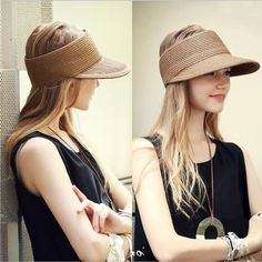 1493c3bd Hat Casual Visor Sun Beach Summer Cap Outdoor Sport Straw Pure Women  Fashion Cap #VFSHat