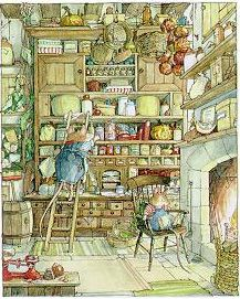 """""""Brambly Hedge is on the other side of the stream, across the field. If you can find it, and if you look very hard amongst the tangled roots and stems, you may even see a wisp of smoke from a small chimney, or through an open door, a steep flight of stairs deep within the trunk of a tree. For this is the home of the mice of Brambly Hedge."""""""