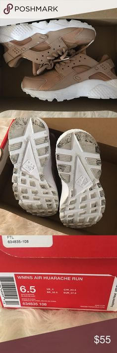 Custom nude Nike huaraches Like new some areas have chipped paint shown in picture Nike Shoes Athletic Shoes