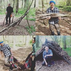 Tom & Trudie working hard to build a simple but practical shelter from some scattered timbers and fallen leaves under the watchful eye of Jamie Dakota.  Making woodland shelters is great fun useful knowledge and very nostalgic.  http://ift.tt/1Wlb5py  #bushcraft #bushcraftuk #bushcrafter #shelter #woods #survivalist #survival