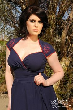 Pinup Couture - The Luscious Dress in Navy with Octavio the Octopus
