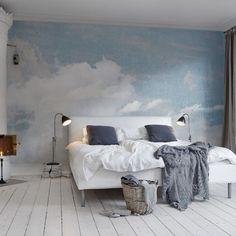 grand poster mural ciel et nuages superbes dans la chambre scandinave