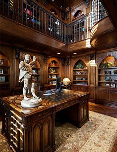 Mediterranean-style two-story Study with Loft Library