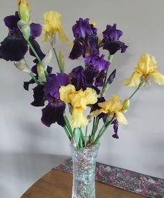 I have a yard full of irises - I just love their colors and scent. Irises, Just Love, No Time For Me, Glass Vase, Yard, Colors, Patio, Iris, Yards