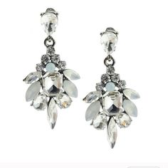 Teardrop Deci Crystal Earrings Beautiful Crystal Earrings!!!! Make a statement with these beauties!!✨✨✨ White gold plated metals and glass crystals!! T&J Designs Jewelry Earrings