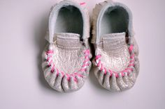 Moccasins - Gold with Neon Pink Stitching