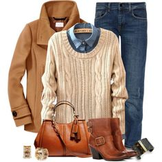 Boyfriend jeans, light chambray shirt, cream or tan sweater, cognac boots, camel coat