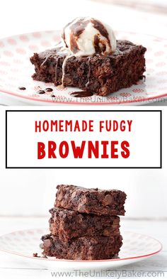 These fudgy brownies are the fudgiest and chocolatiest brownies youll ever taste. They take less than 60 minutes to bake and no electric mixer required! Holiday Desserts, Easy Desserts, Delicious Desserts, Best Dessert Recipes, Sweet Recipes, Bar Recipes, Amazing Recipes, Brownie Recipes, Cookie Recipes