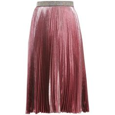 Christopher Kane Pleated silk-blend midi skirt (3.575 RON) ❤ liked on Polyvore featuring skirts, pink, pink metallic skirt, high waisted pleated skirt, pink high waisted skirt, high-waisted skirt and pink midi skirt
