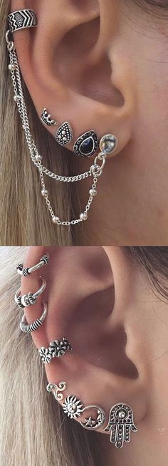 Multiple Ear Piercing Ideas at - Antiqued Silver Ear Cuff Earring - Flower Cartilage Ring Hoops - Sun Moon Hamsa Hand Crown Ear Peircings, Cute Ear Piercings, Multiple Ear Piercings, Body Piercings, Ear Gauges, Piercing Implant, Innenohr Piercing, Tattoo Und Piercing, Helix Piercing Jewelry