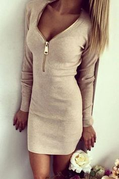 Zipper Plunging Neck Long Sleeve Bodycon Dress