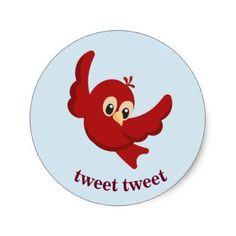 #Cute Cartoon Red Bird Classic Round Sticker - #cute #gifts #cool #giftideas #custom