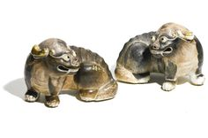A PAIR OF EN GRISAILLE MYTHICAL BEASTS<br>QING DYNASTY, QIANLONG/JIAQING PERIOD | Lot | Sotheby's