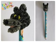Loombicious 3D bear pencil topper Rainbow Loom Rainbow Loom Tutorials, Rainbow Loom Patterns, Rainbow Loom Creations, Loom Bands Tutorial, Monster Tail, Rainbow Loom Charms, Pencil Toppers, Creative Studio, Cool Things To Make