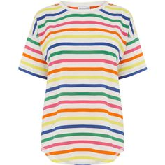 Warehouse Warehouse Rainbow Stripe Tee Size 12 ($20) ❤ liked on Polyvore featuring tops, t-shirts, half sleeve t shirts, rainbow top, elbow length tops, elbow length tee and white top