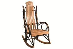 Amish Blue Mountain Hickory Rocker Charming rustic rocker just perfect in front of the fireplace. Amish made in America.