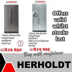 Looking for a fridge? Herholdt Group has these magnificent Bosch fridges at a reduced price. Save up to on Bosch appliances this week. Bosch Appliances, Appliance Sale, Household, Group