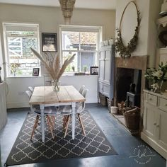 My Goals for the House in 2020 ~ Life with Holly Wooden Flooring, Concrete Floors, New Kitchen Inspiration, Dining Area, Dining Table, Victorian Hallway, Quarry Tiles, Dado Rail, Charity Shop