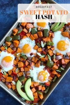This is a delicious and healthy breakfast your family will just love! It is quick to make and packed with filling foods that will leave you full and satisfied. The sweet potatoes and bell peppers roast beautifully and are packed with delicious flavor as the yolk of the eggs pools over them. You can make this recipe in advance and package it up for breakfasts on the go for the week! #sweetpotato #hash #breakfasthash #potatohash #breakfast Breakfast Hash, Sweet Potato Breakfast, Sweet Potato Hash, Breakfast On The Go, Healthy Casserole Recipes, Brunch Recipes, Fall Recipes, Breakfast Recipes, Potato Hash Recipe