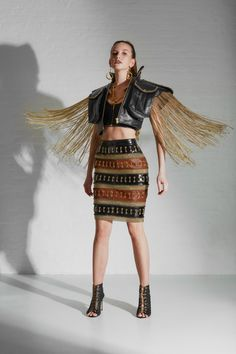 Fashion Desinger, Fashion Studio, Gold Chains, Embroidery Designs, Bohemian, Brown Heels, Skirts, Leather, Collection