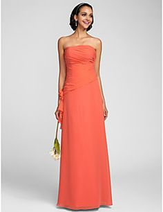 Floor-length Chiffon Bridesmaid Dress Sheath / Column Strapless Plus Size / Petite with Flower(s) / Side Draping / Ruching
